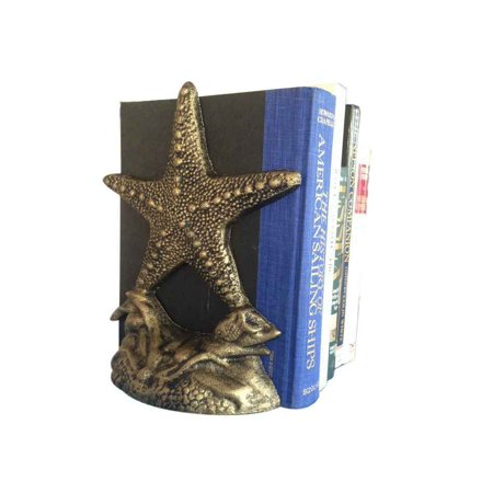 Set of 2- Antique Gold Cast Iron Starfish Book Ends 11