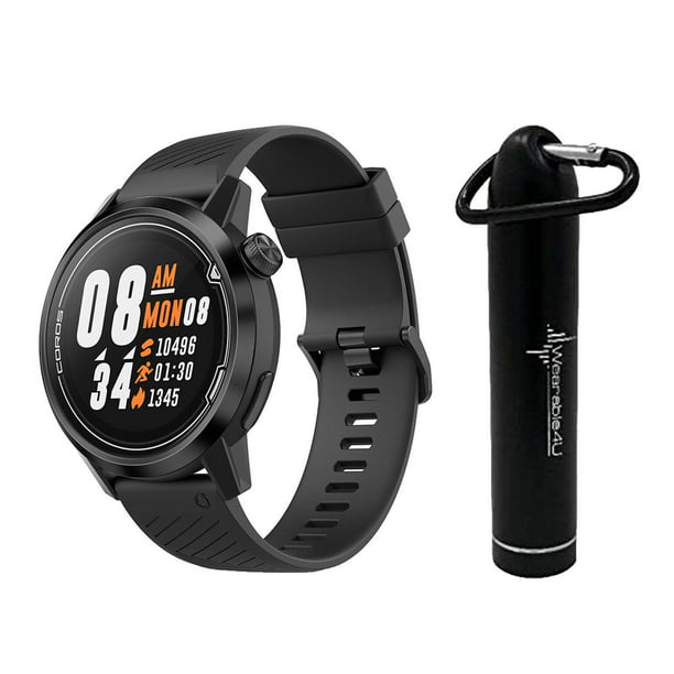 Coros APEX Premium Multisport Watch 46mm with Wearable4U Compact Power Bank Bundle (Midnight Black)