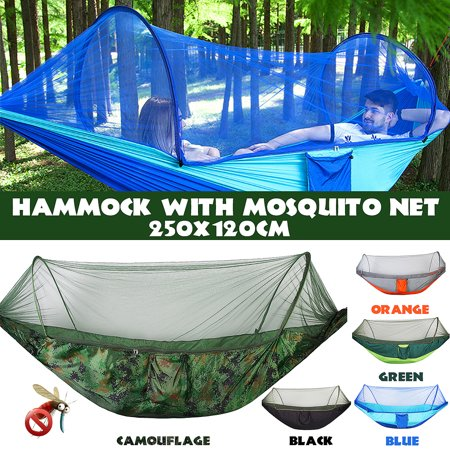 Grtxinshu (Capacity 440 lbs)-Portable Camping Outdoor Double Person Tent Sleeping Hanging Hammock Bed With Mosquito Net Including Hooks,Rope,Storage Bag For Summer Hiking Travel