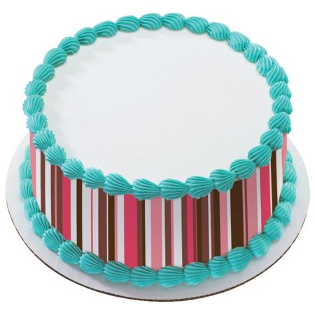 Pink Delicious Stripes Edible Cake Topper Image Strips