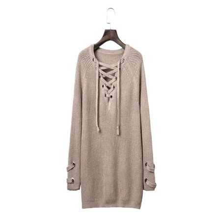 147ebe03dd Night-life - Women Sexy V-Neck Long Sleeve Casual Sweater Lace Up Front  Knitted Sweater - Walmart.com