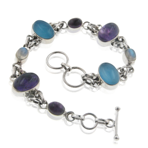 "Sterling Silver 8"" Amethyst, Rainbow Moonstone, and Blue Chalcedony Toggle Bracelet by"
