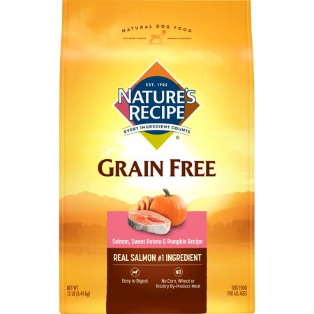 Nature's Recipe Grain Free Easy to Digest Salmon, Sweet Potato & Pumpkin Recipe Dry Dog Food, 12-Pound
