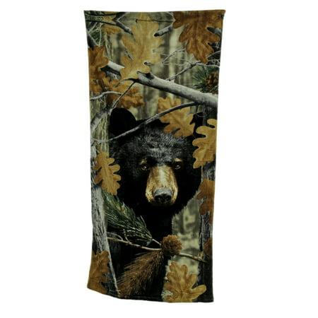 Cameo Towel - Black Bear Leaf Camouflage Print Cotton Beach Towel 28 X 58