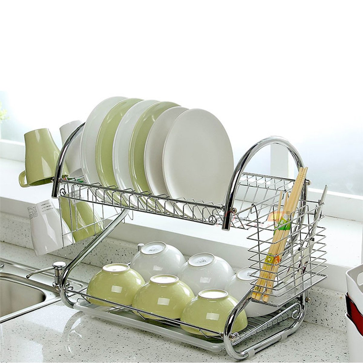 2 Tier Stainless Steel Plate Holder Chrome Plate Dish Cup Cutlery Drainer Rack Drip Tray Plates Storage Holder Home Kitchen Organizer