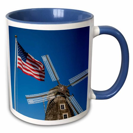 3dRose Nelis Dutch Village Dutch windmill, US flag, Michigan, USA - Two Tone Blue Mug, 11-ounce