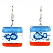 Tili Glass Blue Horizon Square Fused Glass Earrings