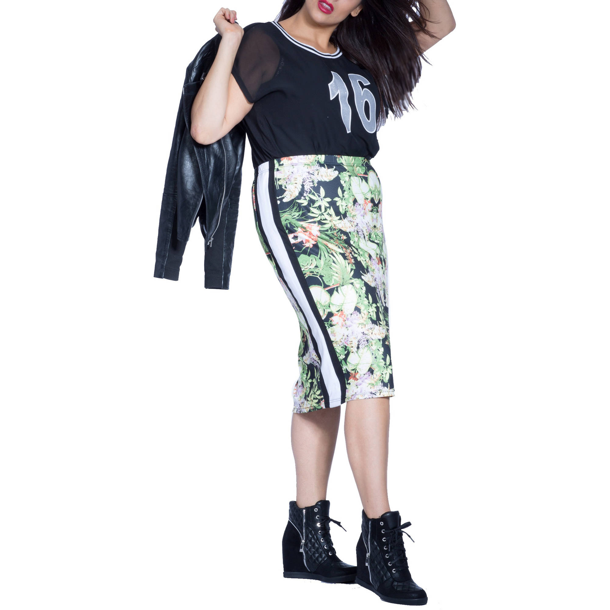 Plus Moda Women's Plus-Size Tropical Midi Pencil Skirt w/Sporty Stripe Accent