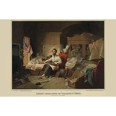In a cluttered study Lincoln sits in shirtsleeves and slippers at work on the document near an open window His left hand is placed on a Bible that rests on a copy of the Constitution in his lap The sc (Window Documents)