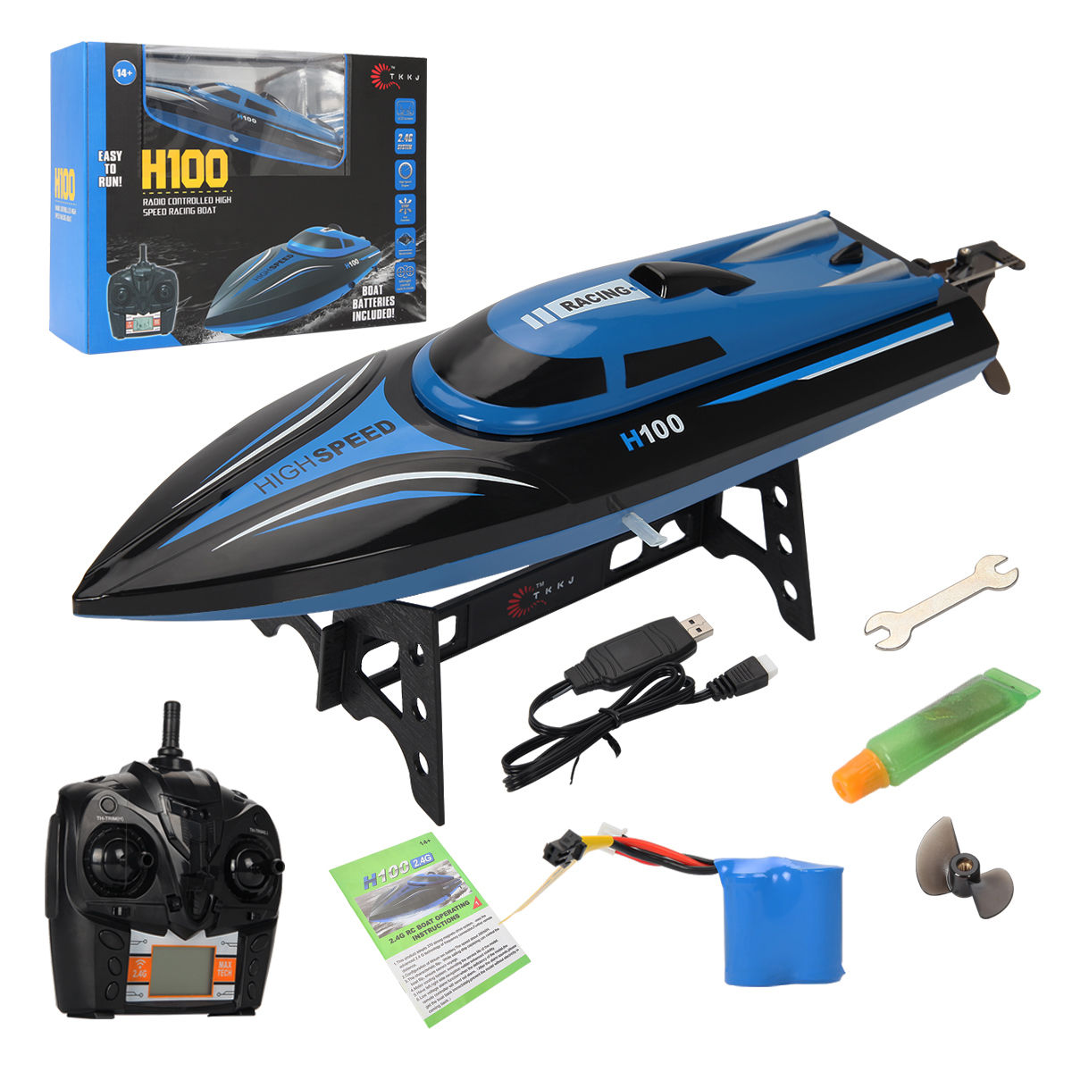H100 2.4G RC High Speed Racing Boat 180� Flip Radio Controlled Electric Toy Gift by Goplus