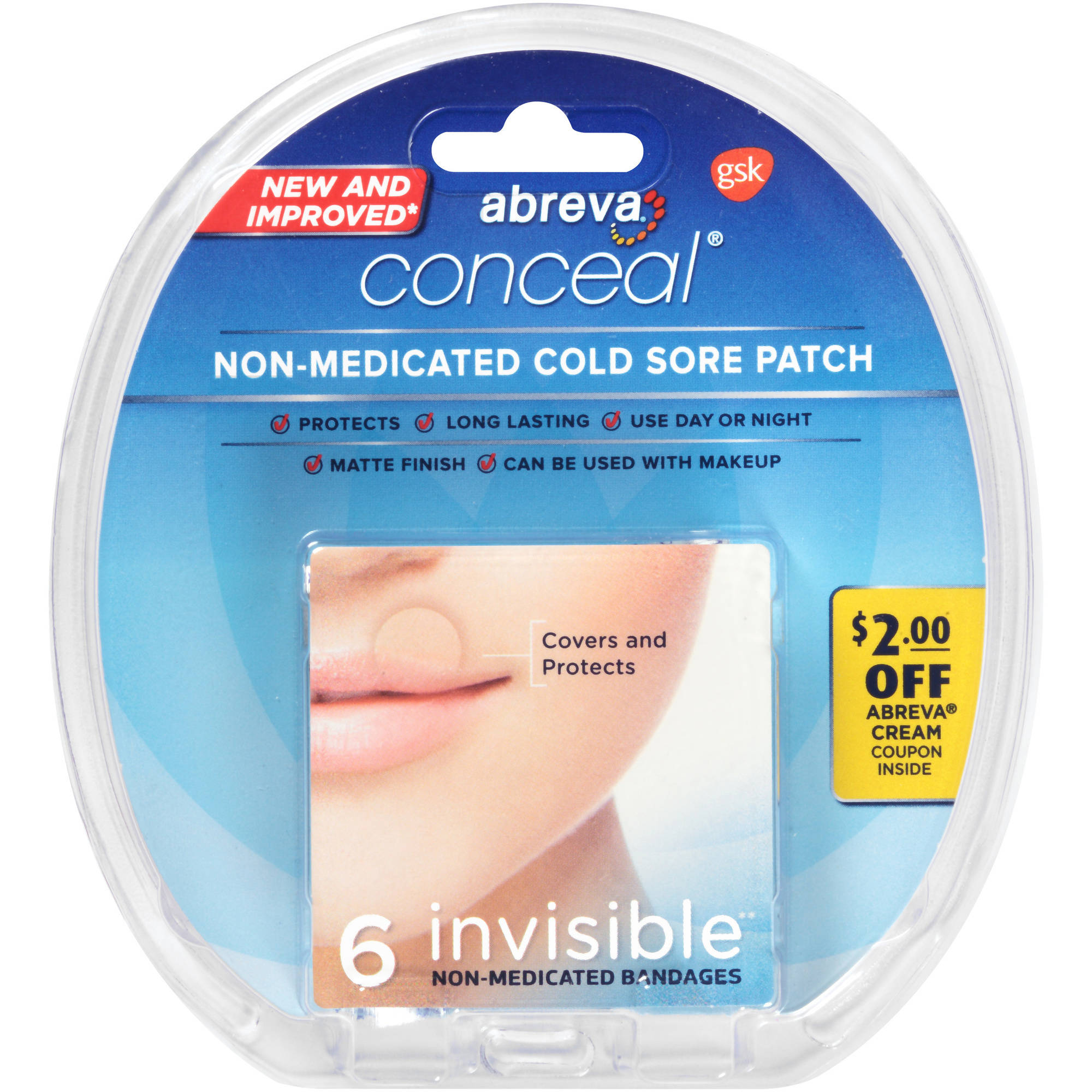 Abreva FDA-Approved Cold Sore Treatment, Conceal Invisible Patch, 6 Patches