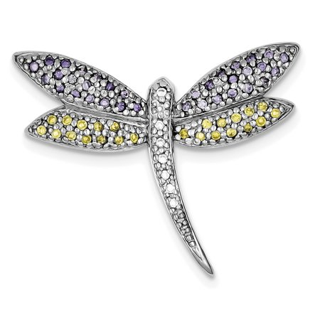 Sterling Silver Dragonfly Pin (925 Sterling Silver Rhodium-plated Purple, Yellow & Clear Cubic Zirconia Dragonfly)
