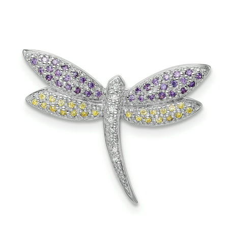 - 925 Sterling Silver Rhodium-plated Purple, Yellow & Clear Cubic Zirconia Dragonfly Pin