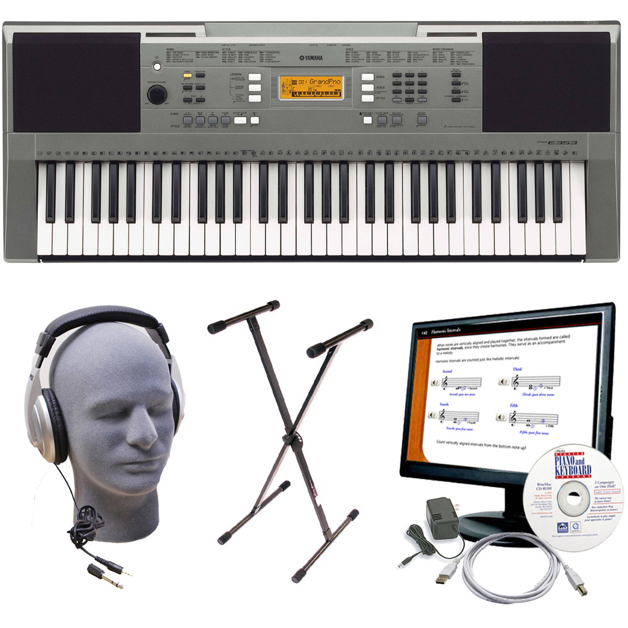 Yamaha PSR-E353 Portable Keyboard Package with Headphones, Power Supply, USB Cable, eMedia... by Yamaha