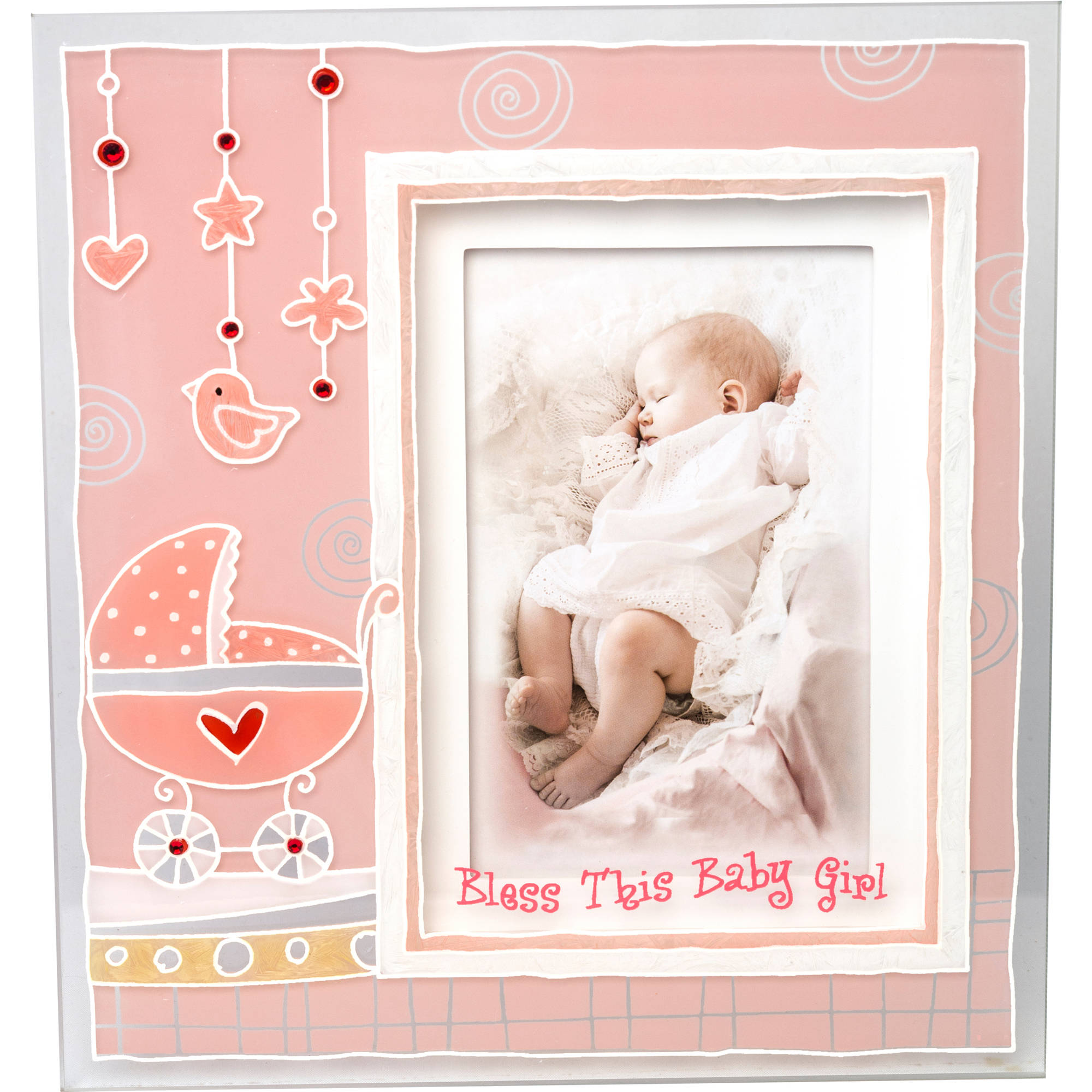 """Girls Christening Baptism Painted 3D Glass Frame With """"Bless This Baby Girl"""" Inscribed Below Photo"""