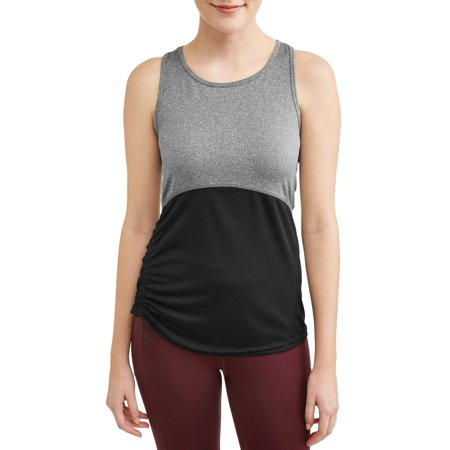 - Women's Active Ruched Tank with Textured Mesh