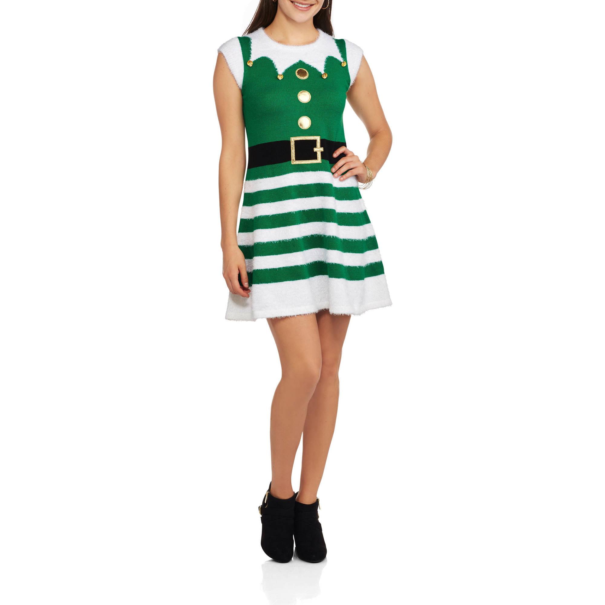 Womens Christmas Sweater Dress Best Dressed Elf Walmartcom