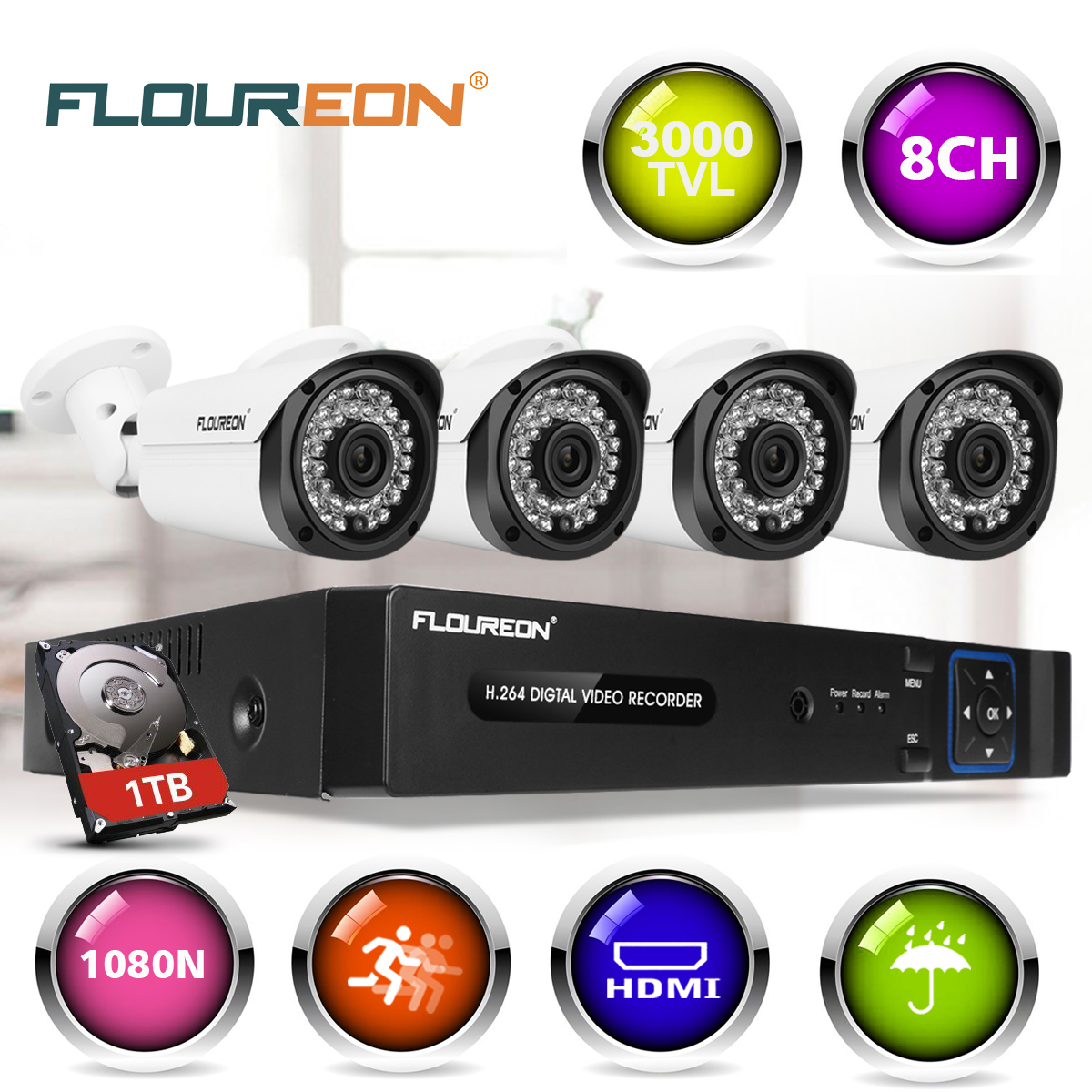 FLOUREON 8 Channel Security Camera System 5-in-1 1080P DVR with 1TB Surveillance Hard Disk Drive and (4) 3000TVL 2.0MP Weatherproof HD-TVI Bullet Cameras with IR-cut Night Vision LEDs