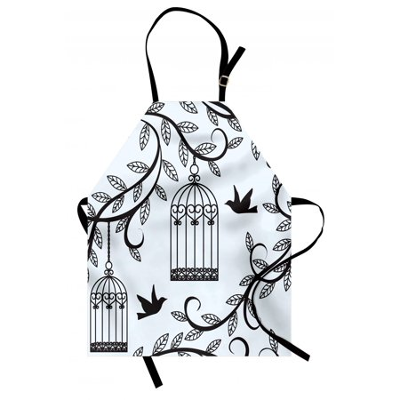 Birds Apron Ornate Cages with Branch of Tree Silhouette and Birds Floral Modern Artistic Print, Unisex Kitchen Bib Apron with Adjustable Neck for Cooking Baking Gardening, Blue Black, by Ambesonne ()