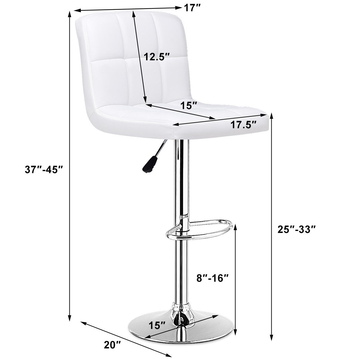 Set Of 2 Bar Stools PU Leather Adjustable Barstool Swivel Pub Chairs White - image 2 de 10