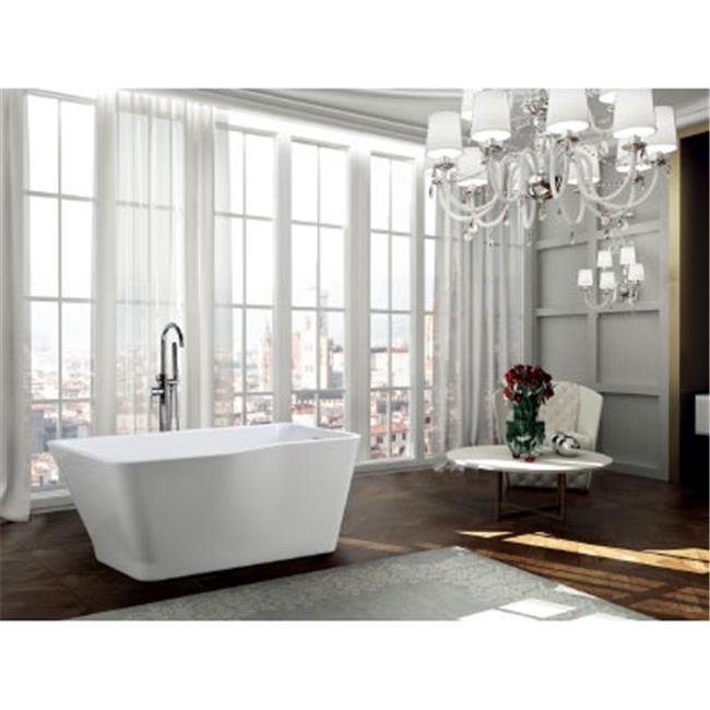 71 in. 132 lbs Freestanding Soaking Bathtub, Glossy White