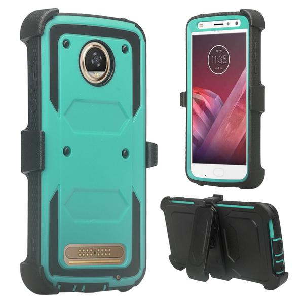 Moto Z2 Play Case, Moto Z2 Force Case, Heavy Duty Swivel Locking Belt Clip Holster, [Built In Screen Protector] Full Body Coverage Rugged Protection For Moto Z2 Play / Moto Z2 Force - Teal - image 2 de 4