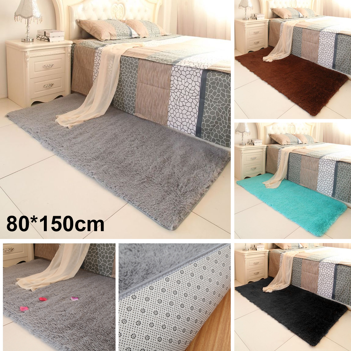 Shaggy Fluffy Rugs Anti Skid Area Rug Dining Room Carpet Dust Cleaning Home  Bedroom Floor