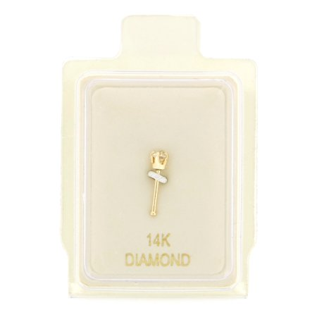 14K Yellow Gold 1.3mm .01 cttw Diamond Nose Ring Straight Stud 22G (Nose Rings Straight Studs)