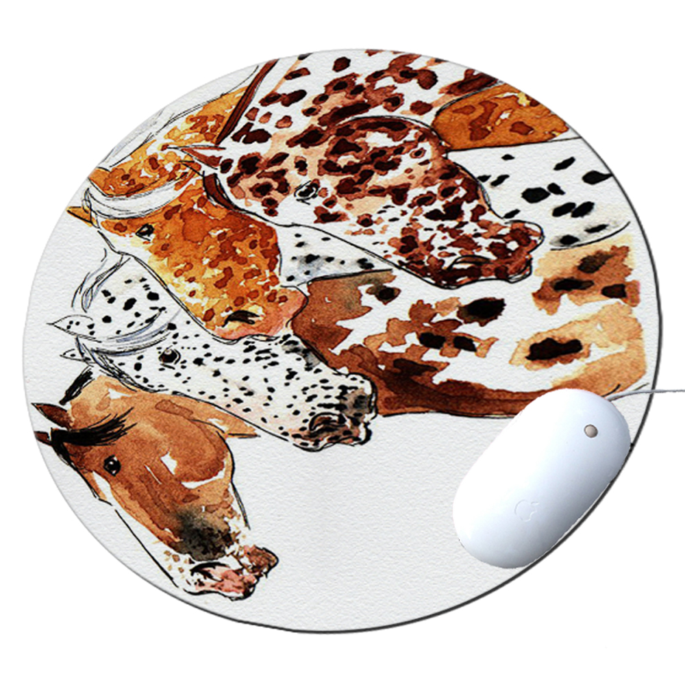 KuzmarK Round Mousepad / Hot Pad / Trivet - Four Appaloosa Horses Equine Art by Denise Every