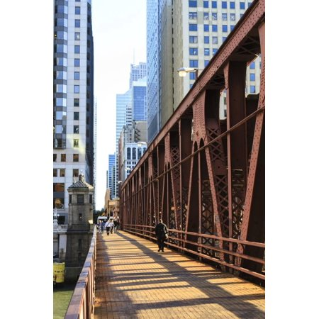 Pedestrians Crossing a Bridge over the Chicago River, Chicago, Illinois, United States of America Print Wall Art By Amanda (Longest Bridge In The United States Over Water)