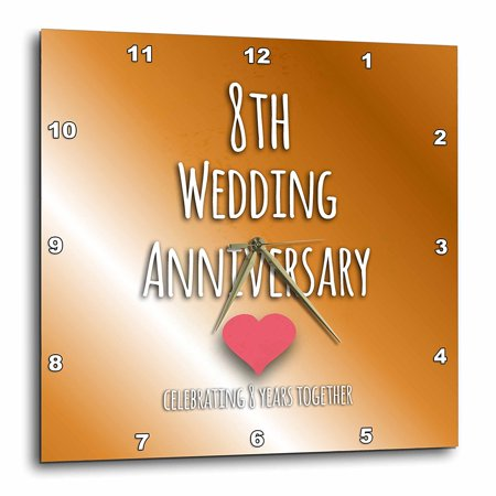 8th Wedding Anniversary.3drose 8th Wedding Anniversary Gift Bronze Celebrating 8 Years Together Eighth Anniversaries Eight Yrs Wall Clock 13 By 13 Inch
