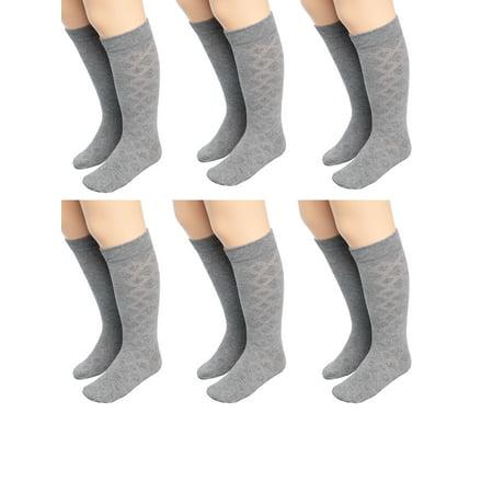 Mod & Tone (6 Pairs) Little Girls Knee High Socks For Kids Cotton Blend Long Socks For Toddler Girls Uniform ()