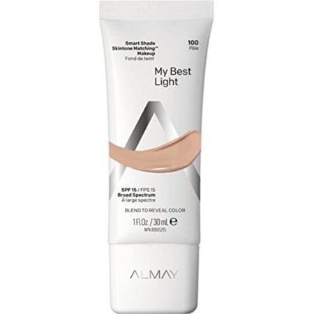almay smart shade skintone matching makeup, hypoallergenic, cruelty free, oil free, fragrance free, dermatologist tested foundation with spf 15, my best light, 1oz