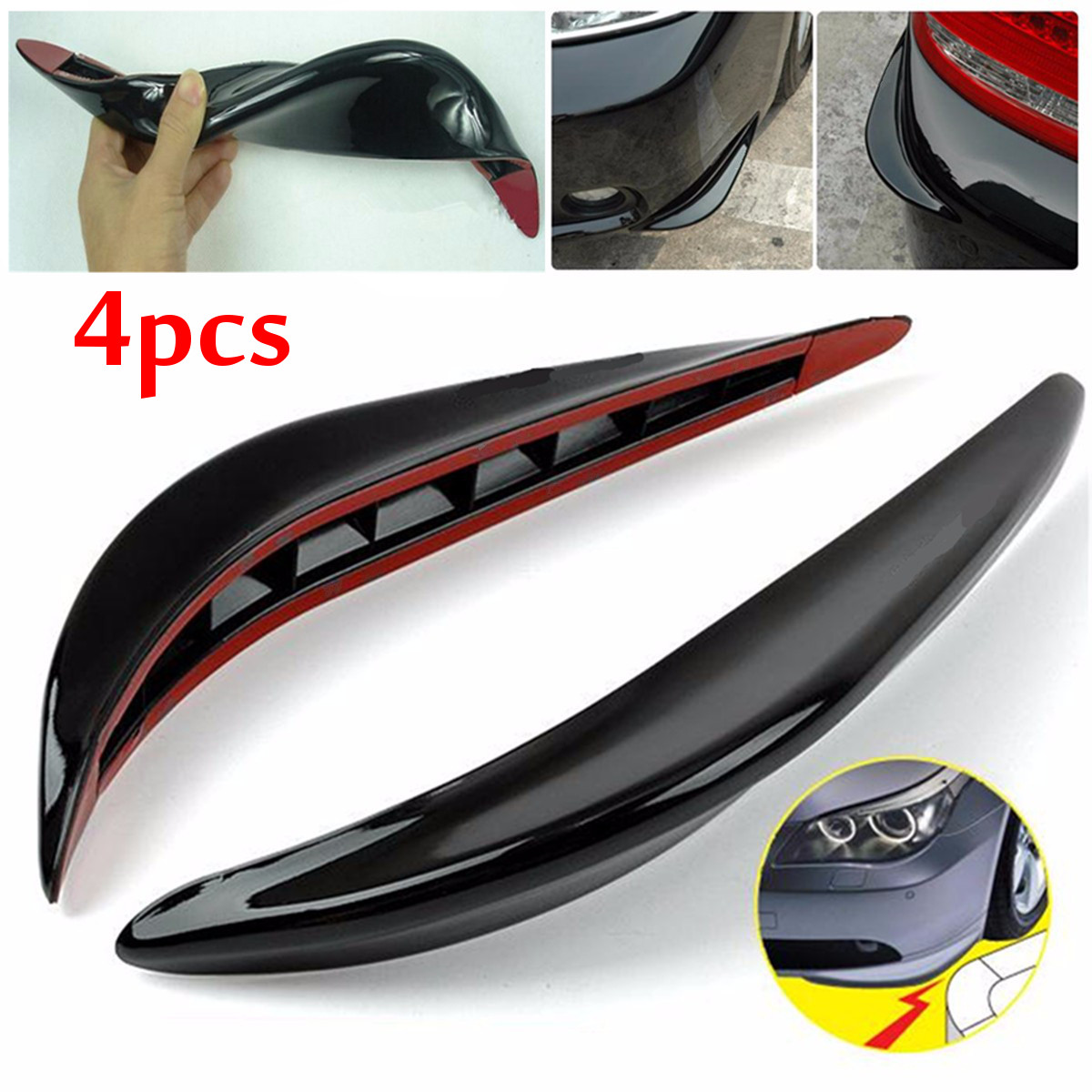 M.way 4Pcs Universal Stick-on Car Front Rear Bumper Protector Protection Guard Anti-rub Edge Lip Anticollision for Trunk Car
