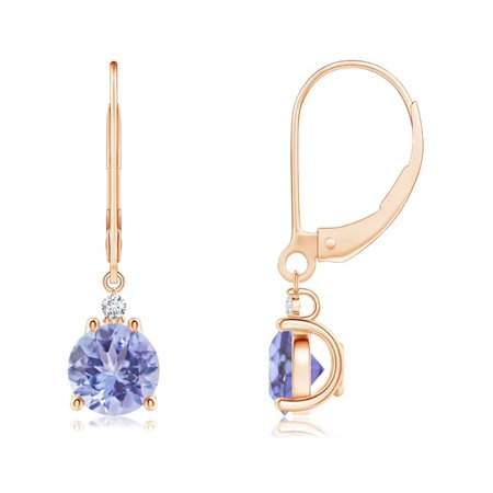 Tanzanite and Diamond Leverback Drop Earrings in 14K Rose Gold (6mm Tanzanite) - (Rose Gold Turquoise Earrings)