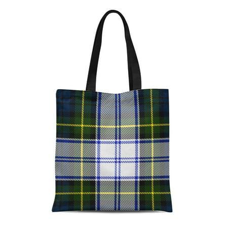 KDAGR Canvas Tote Bag Colorful Clan Classic Gordon Dress Tartan Pattern Scottish Traditional Reusable Handbag Shoulder Grocery Shopping Bags