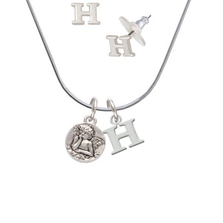 Right Angle Stud - Small Raphael Angel on Disc - H Initial Charm Necklace and Stud Earrings Jewelry Set