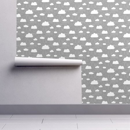 Peel-and-Stick Removable Wallpaper Clouds In Gray Cloud Sky Gray Textured