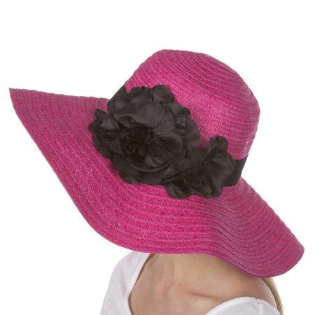 Sakkas Daisy UPF 50+ 100% Paper Straw Flower Accent Wide Brim Floppy Hat - Hot Pink - One Size](Daisy Duck Hat)