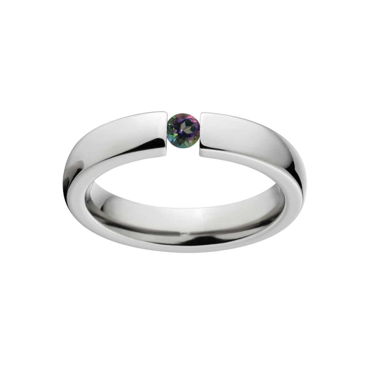 Mystic Topaz 4mm Stainless Steel Tension Set Ring by Luxurien