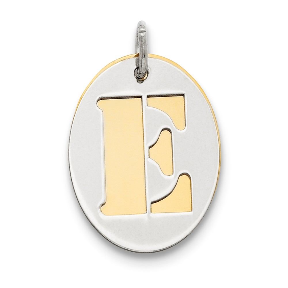 Sterling Silver Engravable GP Initial E Double Plate Oval Charm (0.7in long x 0.6in wide)