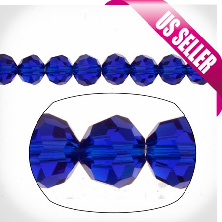 Cobalt Blue Round Crystal Beads 6mm, 38-Facet Surface Cutted, 100 Beads / string