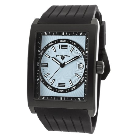 40012-Bb-012 Limousine Black Silicone Light Blue Dial Black Ip Stainless Steel Case Watch