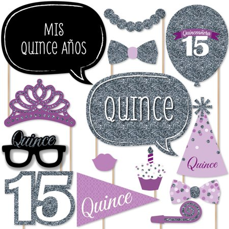 Quinceanera Purple - Sweet 15 - Birthday Party Photo Booth Props Kit - 20 Count](Paris Quinceanera Theme)