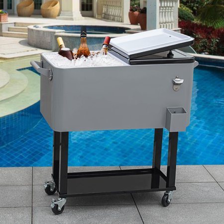 5f3596b316868 Sundale Outdoor Deluxe 80-Quart Portable Patio Party Drink Cooler Cart with  4 Wheels