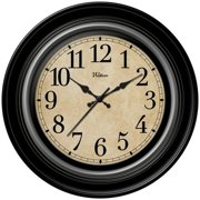 Ashton Sutton WAC904 Round Quartz Analog Wall Clock, Deep Dish Black Case with Silver Bezel