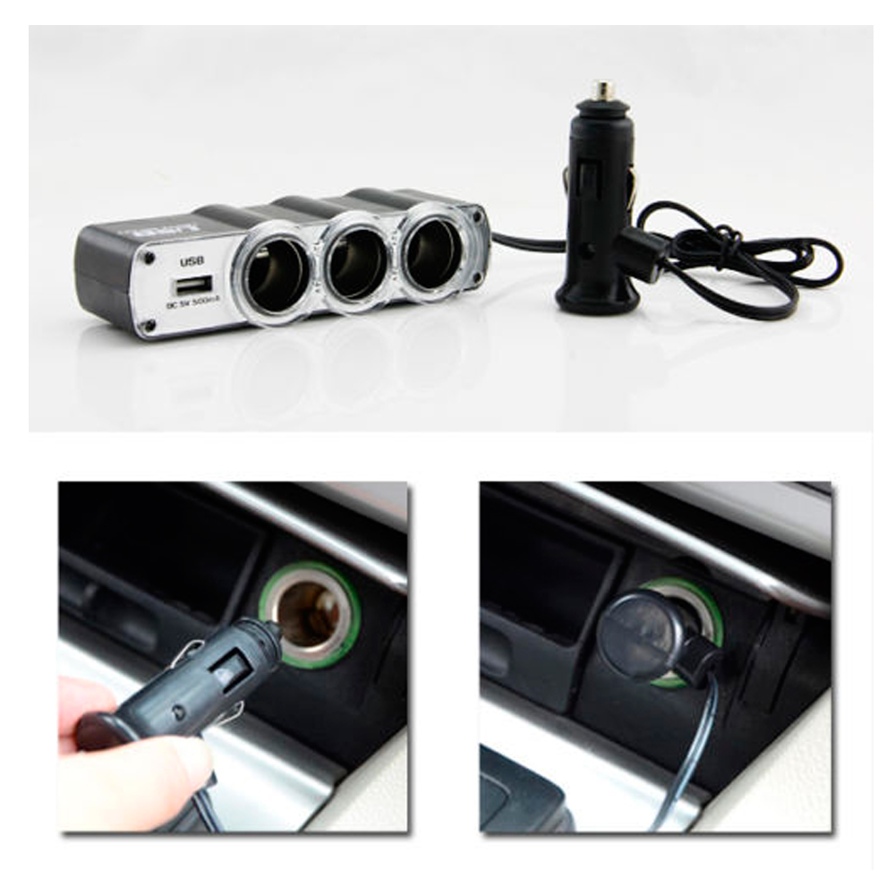 USB Port 3 Way Car Cigarette Lighter Socket Splitter 12V/24V Charger Adapter New