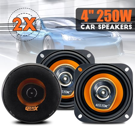 "2 Sets of New MECO GX-481 4"" loudspeaker 250W 2 Way Car Audio Coaxial Speakers Stereo Pair -Black"