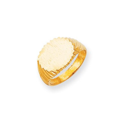 14K Yellow Gold 11 MM Oval Engravable Signet Ring, Size 7
