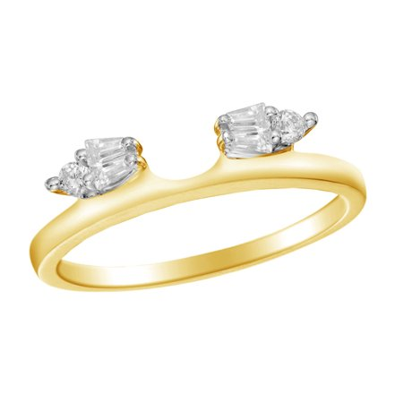 - Baguette & Round Natural Diamond Solitaire Enhancer Ring Guard 10k Yellow Gold (1/5 Cttw)